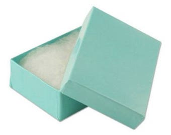 Cotton Filled Boxes - Teal - 2 1/8''W x 1 5/8''D x 3/4''H