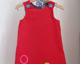 Reversible Dress, Christmas dress, Christmas lollipop, red needle cord, blue lollipop cotton,  2 in 1,  cotton poplin, applique, lollipops.