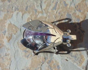 Vintage Mexican Sterling Silver and Purple Amethyst Beetle Bug Pin / Brooch