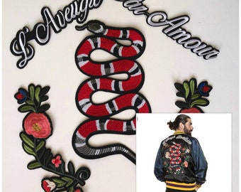 Gucci patches set/patch Gucci red snake/l'aveugle par amour patch/gucci flower patches set.