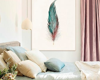 FEATHER PRINT, Feather Pastel Drawing, Beige Turquoise Red Feather Art, Living Room Bedroom Wall Art, Boho Room Decor, Gift for Women Mom