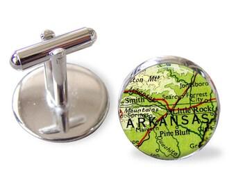 Cuff Links, Arkansas, US city cufflinks, gifts for men, wedding cufflinks, anniversary gifts, graduation gifts, groom cufflinks, cities map