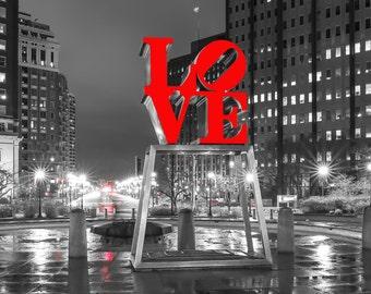 Philadelphia Love Park Black And White (20x60) Panoramic,Canvas Art,Art on Canvas,Prints,Center City.