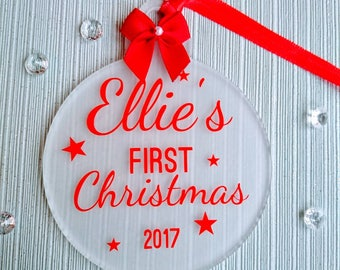 Personalised babies first Christmas decoration bauble