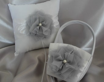 Cream or White Flower Girl Basket and  Pillow Ring Bearer Pillow- Gray-Custom Colors-Size Age Toddler to 5