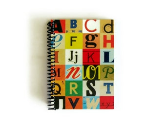 Alphabet Letters Notebook A6 Spiral Bound, Back to School, Writing Diary Journal, Gifts Under 20, 4x6 Blank Sketchbook, Pocket Cute Paper