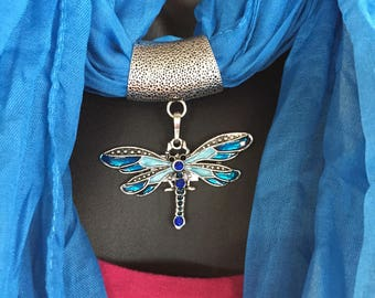 Soft Jeweled Scarf  teal blue with metal dragonfly pendant