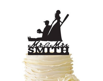 Mr. Mrs. with Bride Dragging Baseball Playing Groom - Baseball Cake Topper With Name  - Standard Acrylic - Wedding - 171