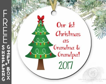 1st Christmas as Grandma & Grandpa | Grandparents First Christmas Ornament |New Grandparents Gift | Pregnancy Reveal | Christmas Gift | F10