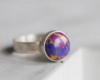 Purple turquoise - Sterling silver ring with purple turquoise cabochon