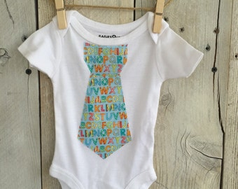 Newborn Bodysuit with ABC Alphabet Tie for Baby Boy