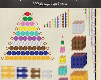 Montessori Beads Clipart Vector 39 Piece Pack - 38 Designs PNG Files & EPS Vectors - Scrapbook Montessori Golden Beads Stair Printable