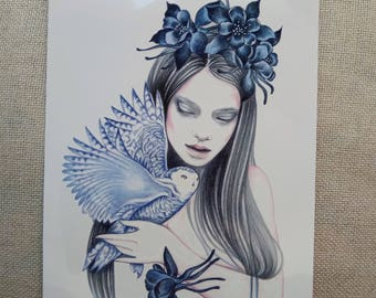 woman owl blue temporary tattoos/ animal tattoos