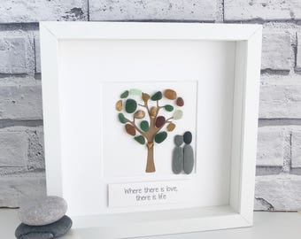 Handmade Pebble Art,  Sea-glass Art, Couple Pebble Picture , Pebble Gifts, Pebble Pictures. Mother's Day, Pebble Gift, Housewarming Gift.