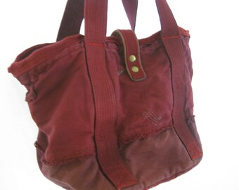 SALE!!! Big red up cycled (Gap) canvas tote, hand dyed funky shopping bag, beach carryall, trendy giant purse, deep red artsy trendy bag