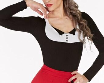 Black & White Tuxedo Top