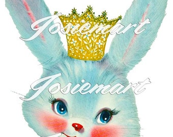 Vintage Digital Download Blue Crown Bunny Vintage Image Collage Large JPG