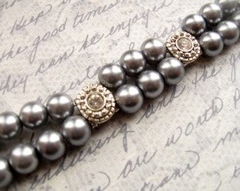 Grey Pearl Double Strand Bracelet