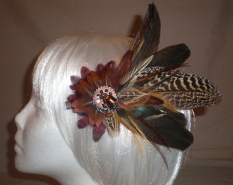 Reddish Brown and Black Feather Hair Piece