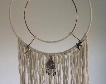 Bohemian Copper and Cream Thread Dreamcatcher with Silver Coloured Dreamcatcher Pan's Horn and Swallow Charms 100% Vegan Ooak Handmade