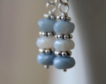 "Blue Earrings Chalcedony Earrings Silver Earrings Semi Precious Gemstone ""Simplicity"""
