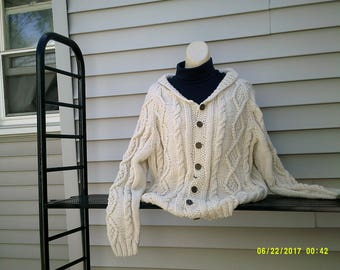 Men's knit cardigan with celtic designs and cables
