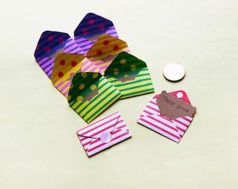 8 Tiny Striped-Dot Envelope Thank You Card Set - Mini Card Set - Love Note - Thank You Note