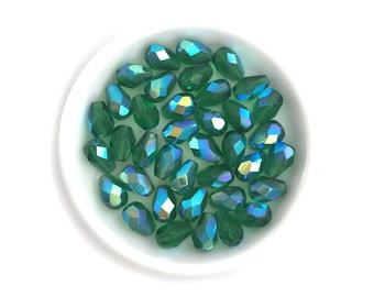 Emerald Green AB Faceted Glass Teardrop, Czech Fire Polished, 6x8 Small Drop, 20pcs, 1472F