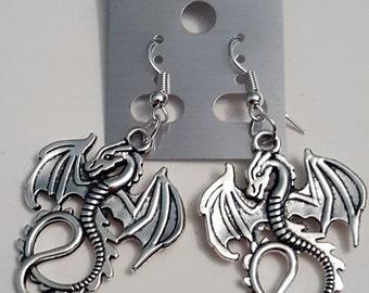 Tibetan Silver Large Dragon Earrings