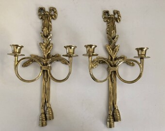 Vintage Brass Wall Sconce Set of 2 Decorative Ribbon Sconces