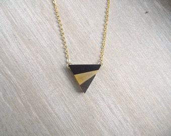 Triangle necklace, Black and gold pendant necklace, Geometric necklace