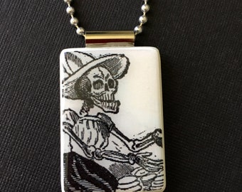 Day of the Dead Jewelry, Dia de los Muertos Jewelry, tortilla skeleton pendant, day of the dead pendant, handmade dia de los muertos, gift