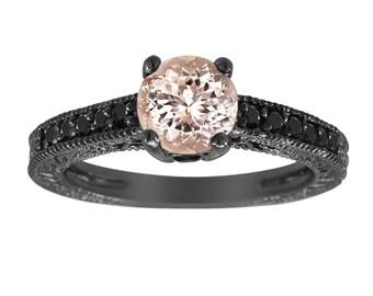 Morganite & Fancy Black Diamond Engagement Ring Vintage Style 14K Black Gold 1.01 Carat Pave Set Birthstone Antique Style Engraved Handmade
