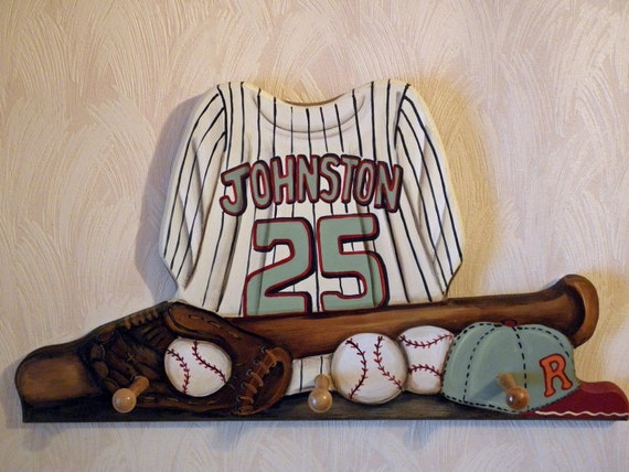 baseball jersey custom wall hanging with 3 pegs. Black Bedroom Furniture Sets. Home Design Ideas