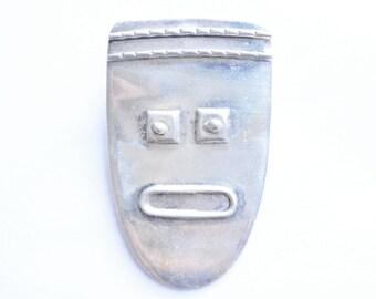 Vintage Sterling Silver Modernist Southwestern Face Large Pendant