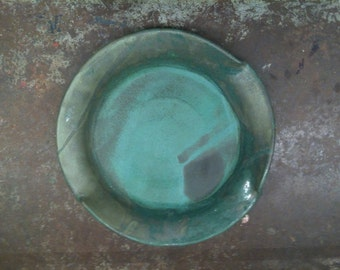Wheel Thrown Pottery Dinner plate in Weathered Bronze