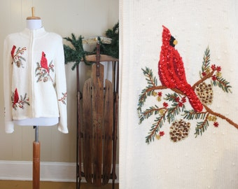 Ugly Christmas Sweater Party Vintage Holiday Cardigan Sequin Cardinals White M