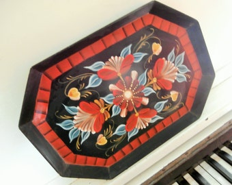 "Vintage Tole, Hand Painted, Metal, Decorative Tray, signed ""Gerry '93"""