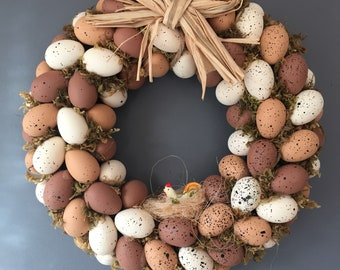 Easter egg wreath with raffia bow and bird nest, Spring wreath, Easter wreath, Door wreath, moss wreath.