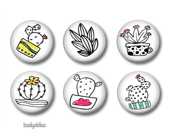 Cactus Fridge magnets, cactus pinback button badges , fridge magnet set