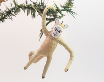 Vintage Style Spun Cotton Monkey Ornament/Figure (MADE TO ORDER)