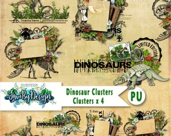 Digital Scrapbooking Clusters set of 4 - DINOSAUR premade embellishment png clusters to make immediate scrap page