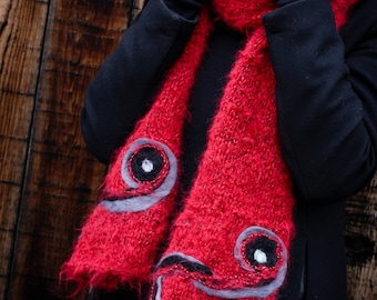 Knit scarf, knitted scarf, chunky knit scarf, infinity scarf, chunky scarf, winter scarf, wool scarf, red scarf, long scarf, hand knit scarf