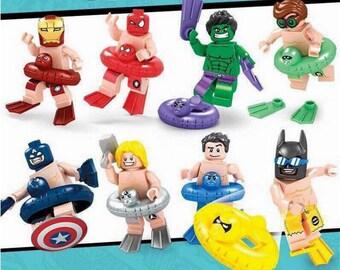 Lot of 8 figures Lego Super heros vacation (Iron Man, Spiderman, Hulk captain America Thor, Batman, Superman, Green Lantern) customized