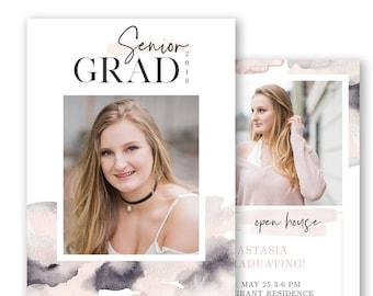 Senior Graduation Announcement Template - Senior Grad Card Templates - Sophisticated Graduation Cards - Modern Senior Grad