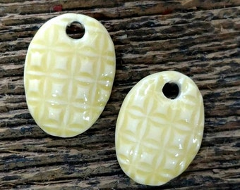 Ceramic Beads, Ceramic Charms, Ceramic Pendants, Leaf Beads, Leaf Charms, Leaf Pendants,Ceramic Pendant, Yellow Charms, Yellow Earrings