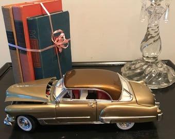 Vintage 1949 Gold Cadillac Coupe De Ville Brown HardTop Model Diecast Car Collectible Car ManCave Decor