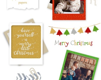 Digital Frame Clipart Traditional Christmas Shimmery Holiday Printable Picture Photo Scrapbook Clip Art Download Card Red Green Christmas