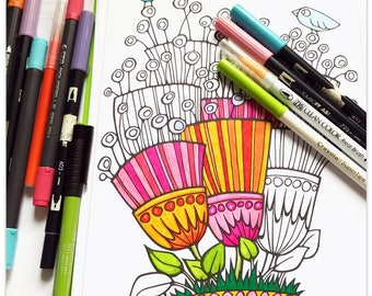 Printable Perky Petals Colouring Page