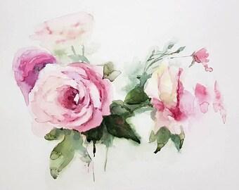 Pink Roses : Original Watercolor Painting